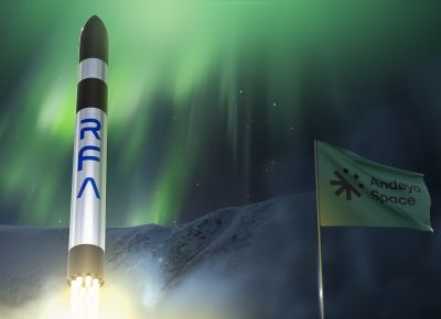 Artist's view of a RFA One smallsat launch vehicle lifts-off from Andøya under the northern lights.